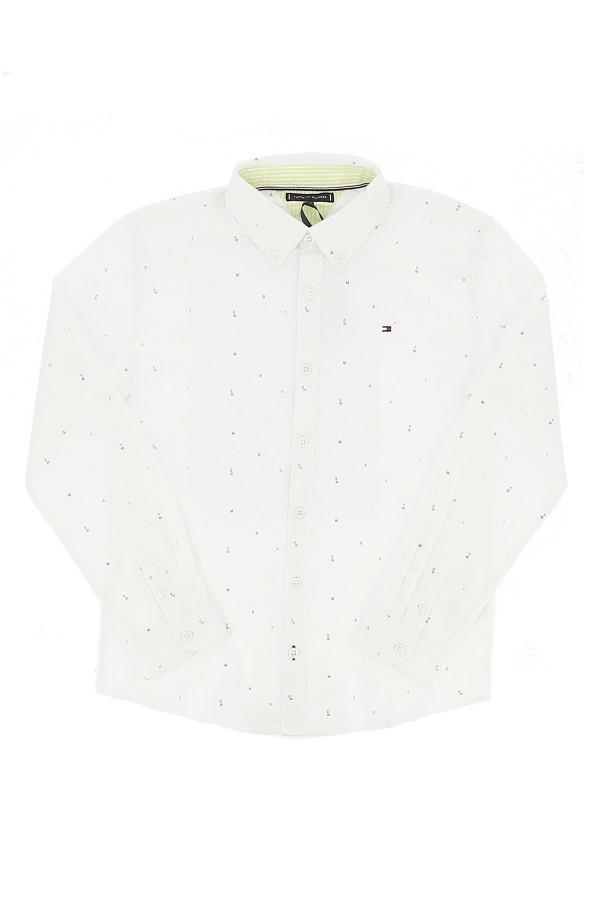 Chemise imprimée minimaliste en coton stretch Tommy Hilfiger