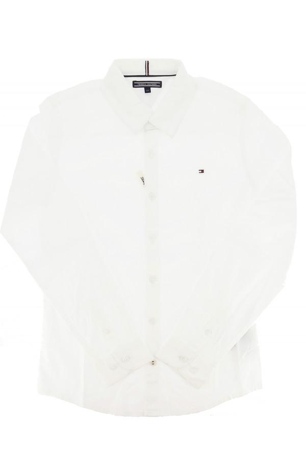 Chemise unie en coton avec logo brodé à la poitrine Tommy Hilfiger