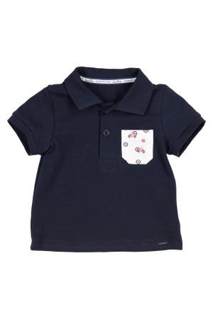 Polo en coton stretch poche poitrine imprimée GYMP