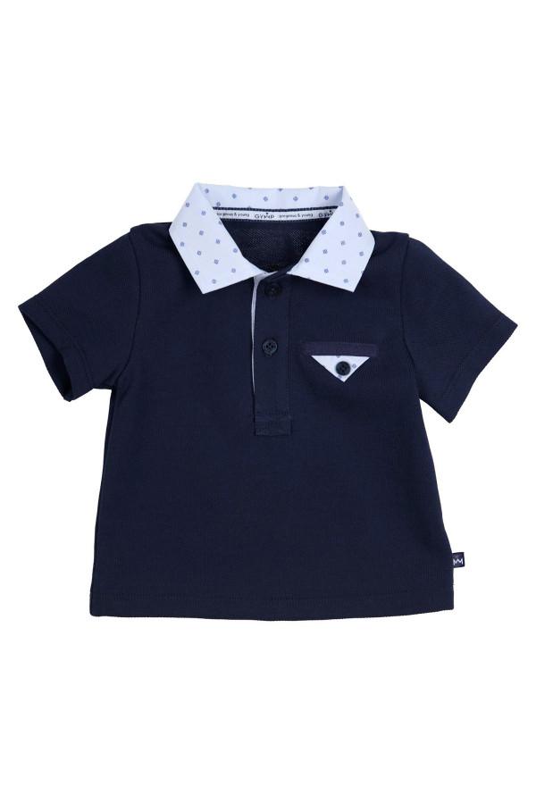 Polo uni en coton piqué avec col contrastant et boutons Gymp