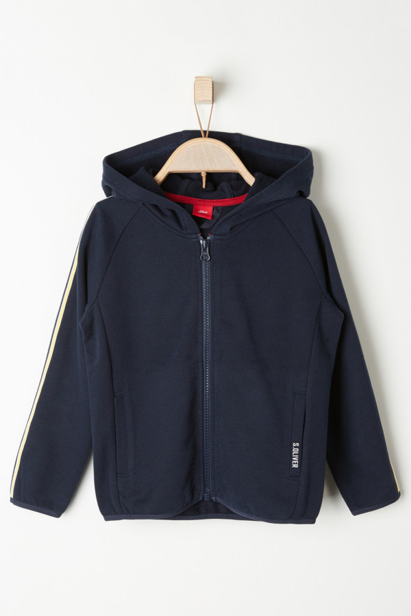 Cardigan zippé à capuche biais contrastants aux manches S.Oliver