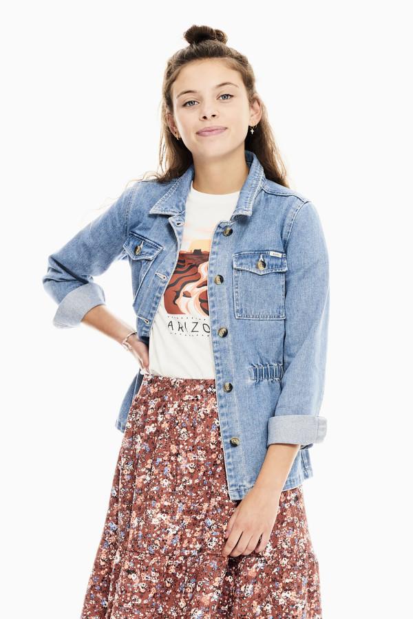 Veste en jean mi-longue avec taille élastique et poches Garcia