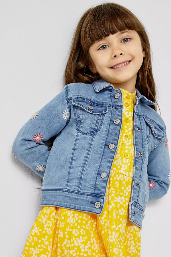 Veste en jean délavé avec fleurs brodées S.Oliver