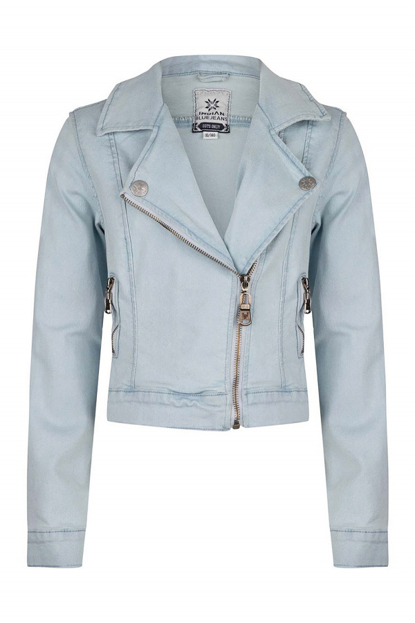 Perfecto en jean clair avec poches Indian Blue Jeans