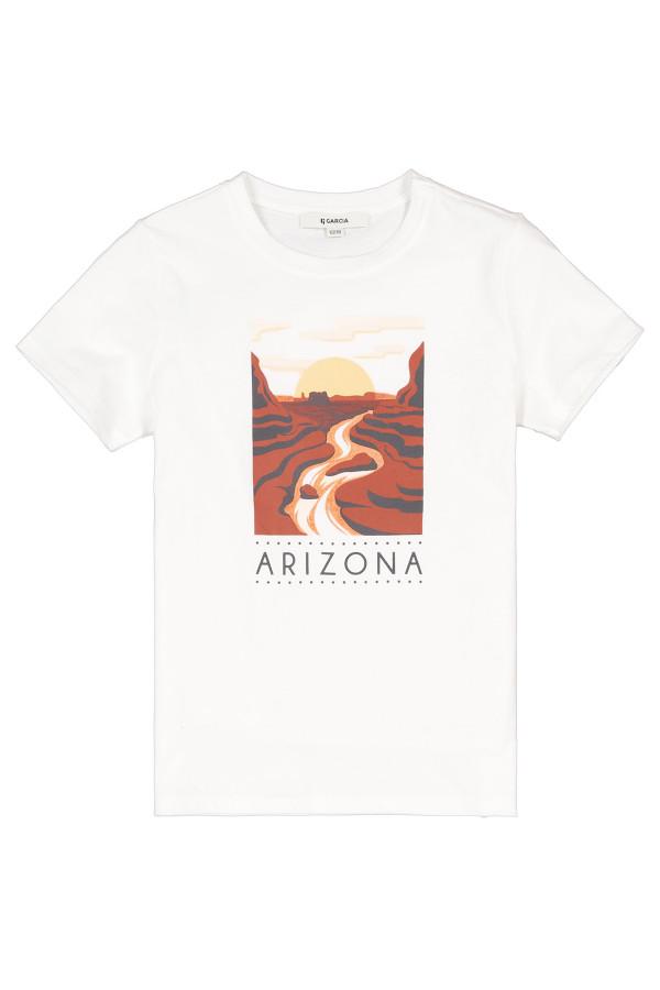 T-shirt uni avec impression sur le devant en coton Garcia