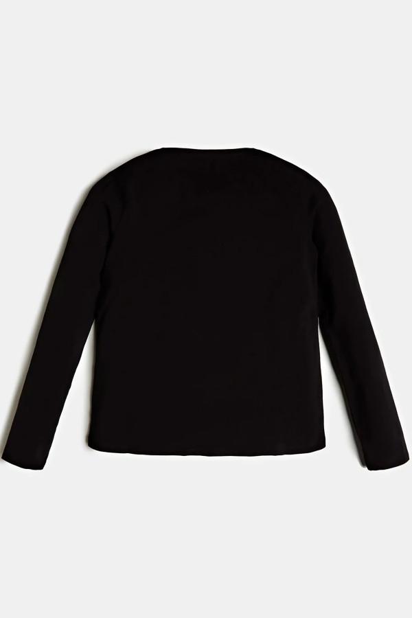 T-shirt uni en coton stretch avec impression devant Guess