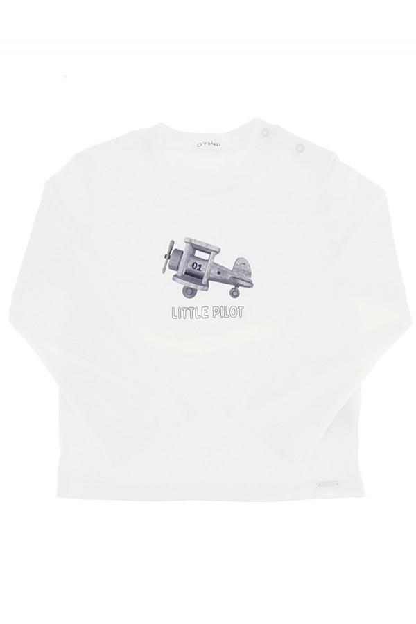 T-shirt uni avec impression sur le devant en coton stretch Gymp