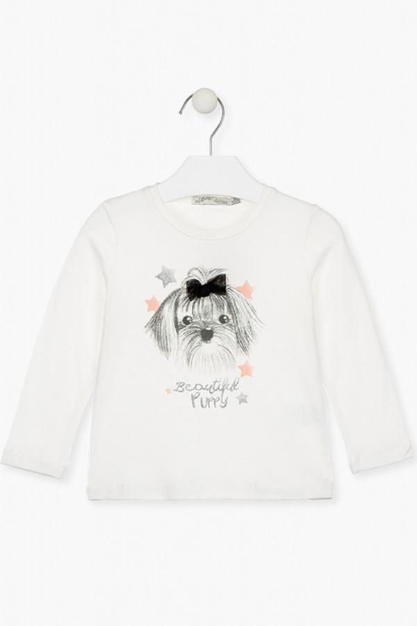 T-shirt uni avec impression sur le devant en coton stretch Losan