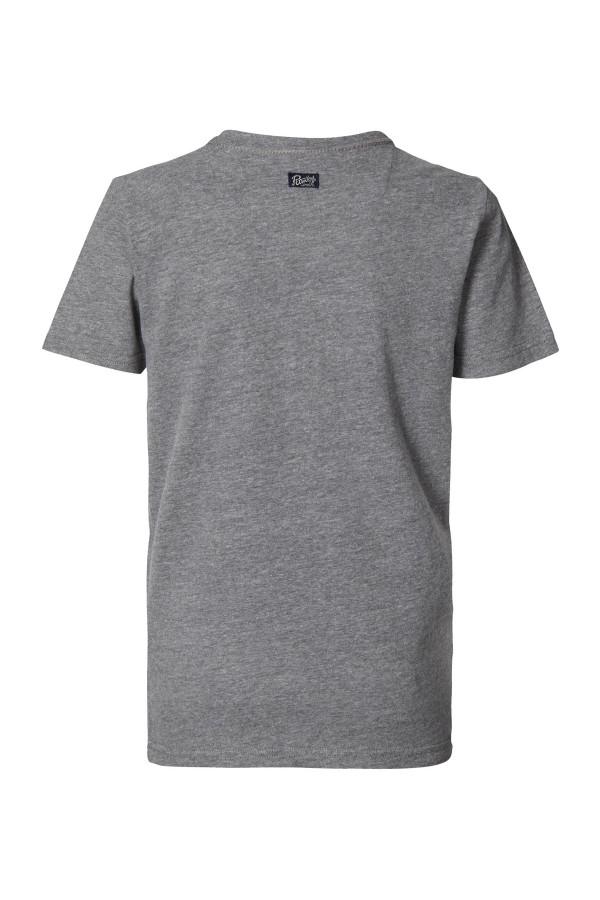T-shirt uni courtes manches avec impression devant Petrol