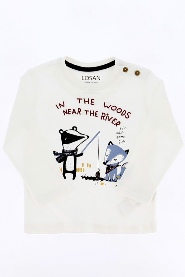 T-shirt uni avec imprimé et fantaisie brodée à l'avant Losan