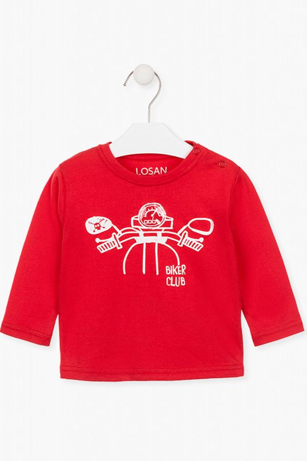 T-shirt uni avec impression sur le devant en coton Losan