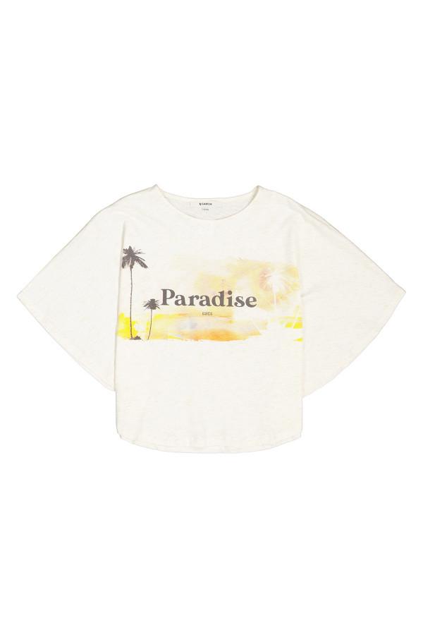 T-shirt ample court chiné avec impression devant manches capes Garcia