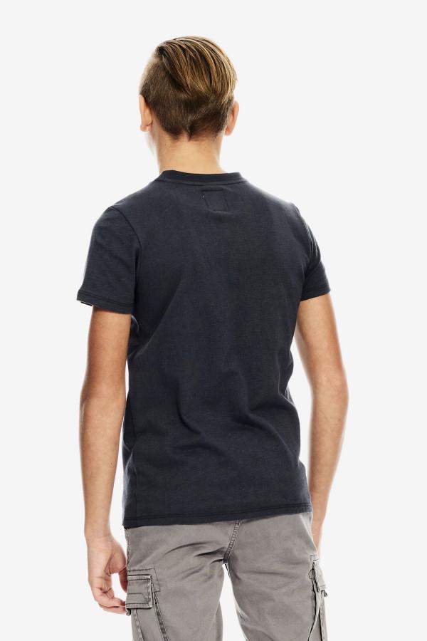 T-shirt en coton flammé avec impression à la poitrine Garcia