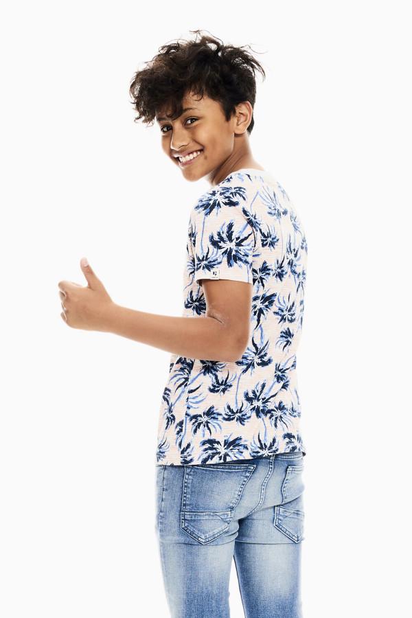 T-shirt imprimé palmiers en coton manches courtes Garcia