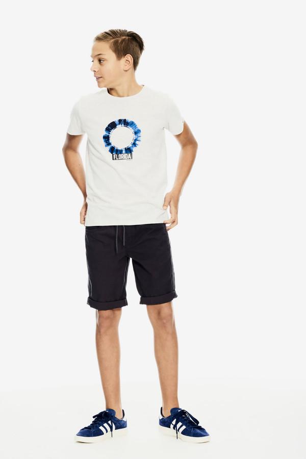 T-shirt uni avec impression devant en coton Garcia