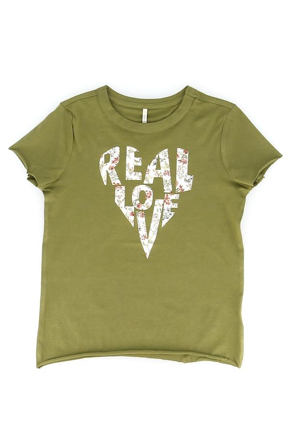 T-shirt avec inscription devant bords roulottés JUANA Only