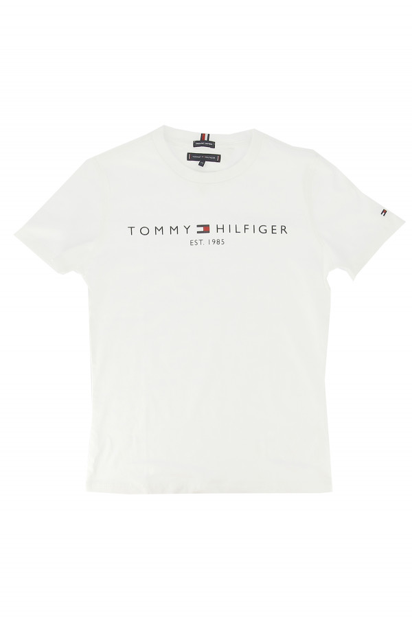 T-shirt uni basique avec logo devant en coton Tommy Hilfiger