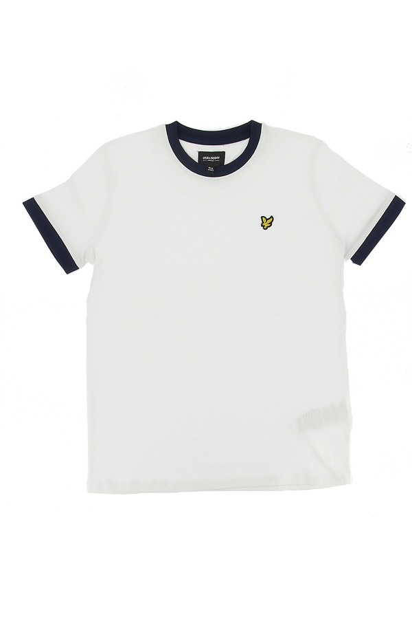 T-shirt uni avec bords contrastants et logo à la poitrine Lyle & Scott