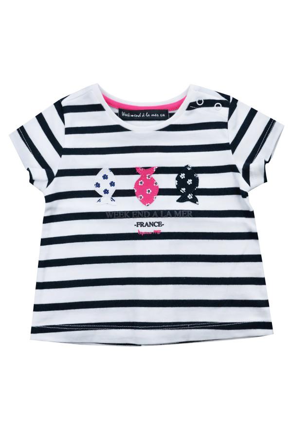 T-shirt rayé en coton avec broderies devant Week-End à la Mer