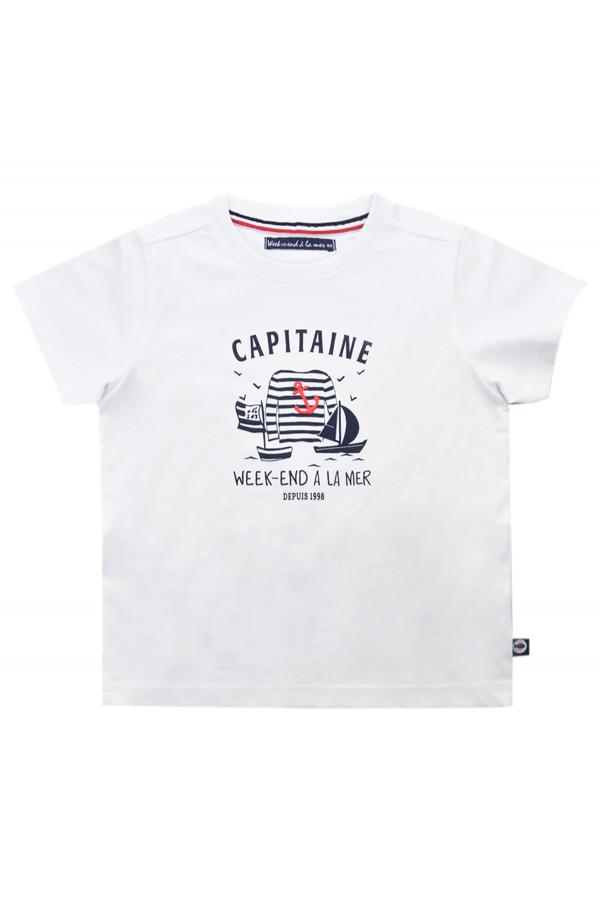 T-shirt uni avec impression devant en coton Week-end à la mer
