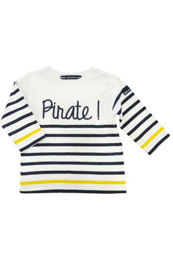 T-shirt rayé en coton avec broderie à l'avant Week-End à la Mer
