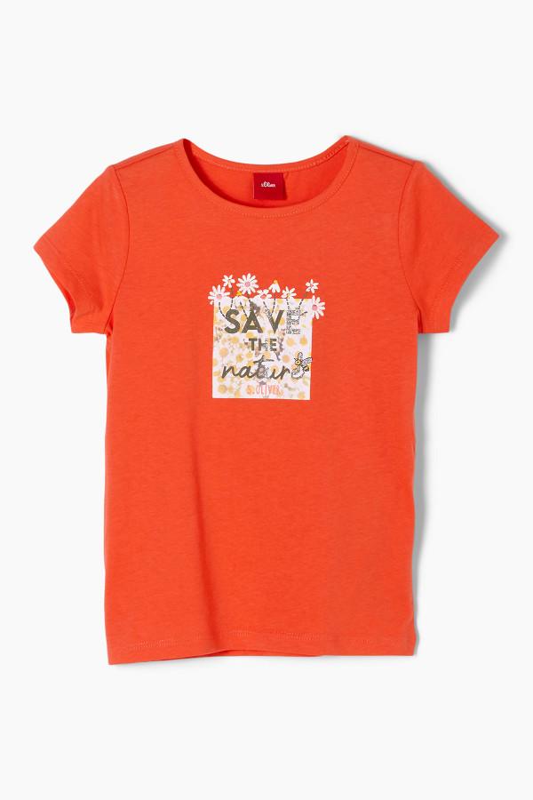 T-shirt uni avec impression devant en coton S.Oliver