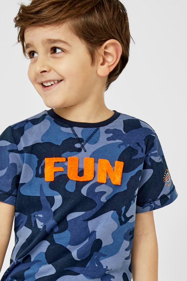 T-shirt en coton imprimé camouflage avec appliques devant S.Oliver
