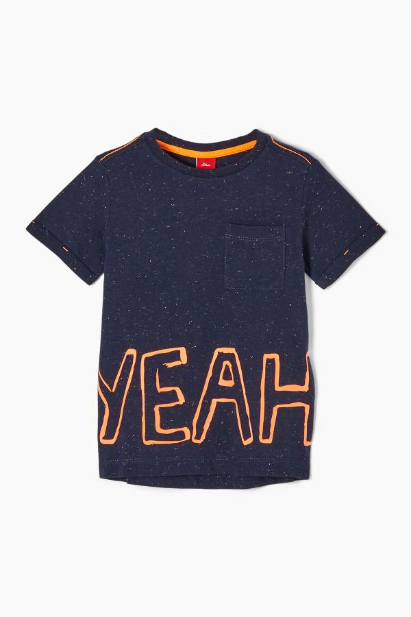 T-shirt moucheté avec poche poitrine et inscription devant S.Oliver