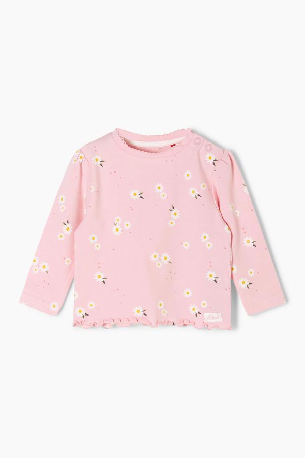 T-shirt imprimé fleuri en coton stretch manches longues S.Oliver