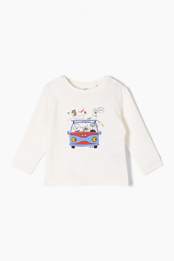 T-shirt avec impression devant fermeture boutons à l'épaule S.Oliver