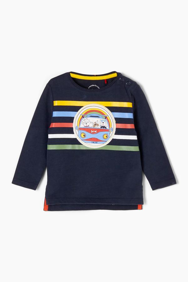 T-shirt en coton avec rayures et impression à l'avant S.Oliver