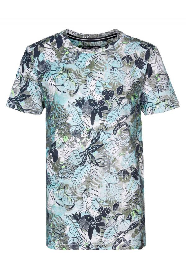 T-shirt fleuri en coton manches courtes Petrol