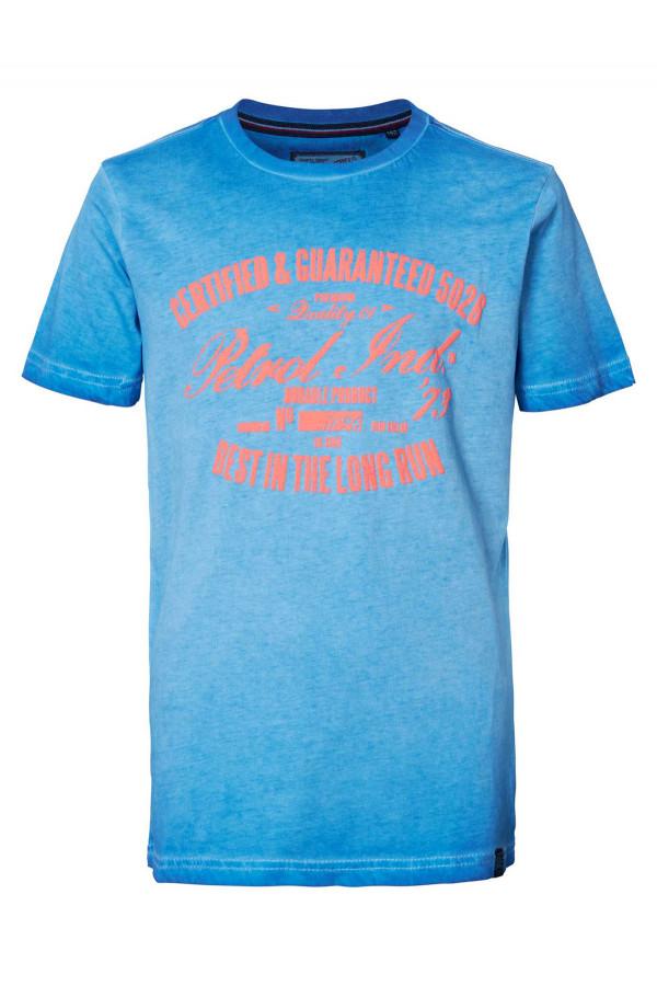 T-shirt uni avec impression en coton Petrol