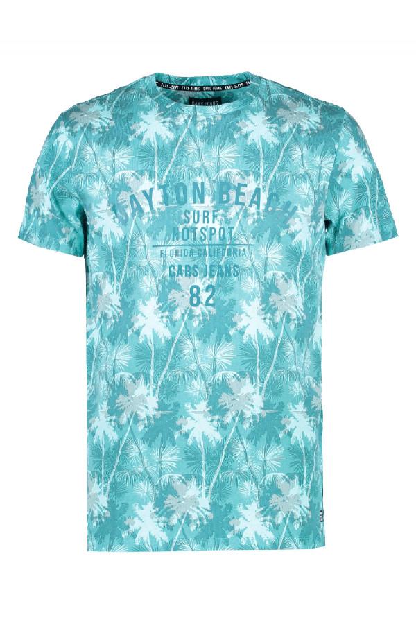 T-shirt en coton avec palmiers imprimés Cars Jeans
