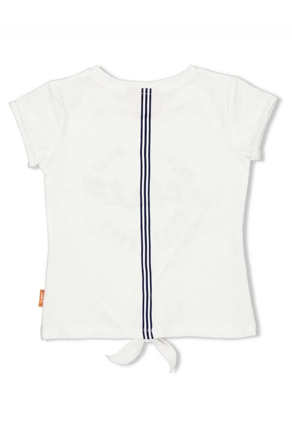 T-shirt en coton avec noeud à la base biais contrastant au dos Jubel