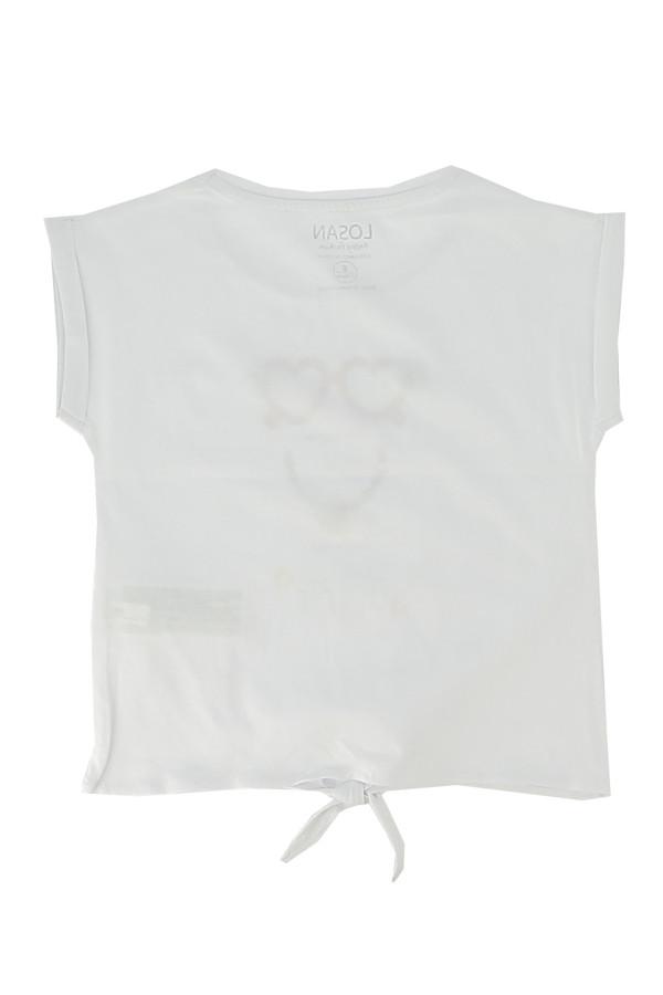 T-shirt court avec impression devant et nœud dans le bas Losan