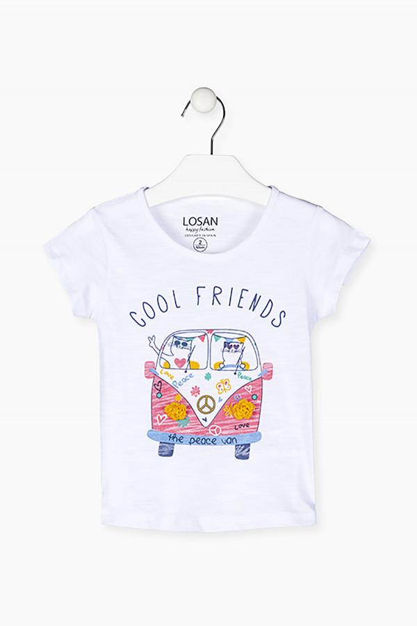 T-shirt en coton flammé avec impression devant Losan