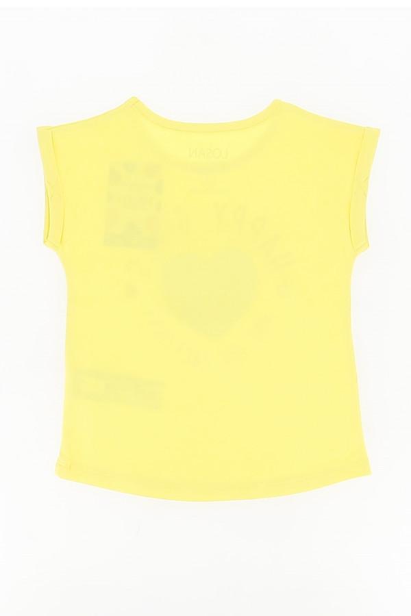 T-shirt en coton avec impression et sequins devant Losan
