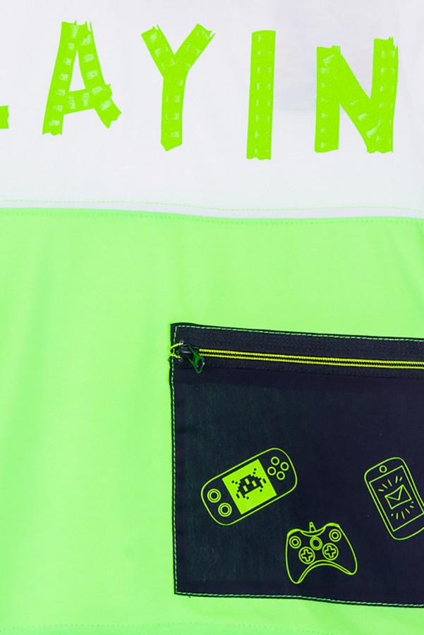T-shirt uni avec impression devant et poche zippée en coton Losan