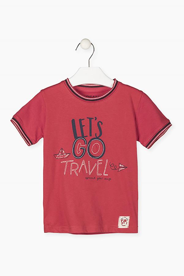 T-shirt en coton avec bords rayés et impression devant Losan