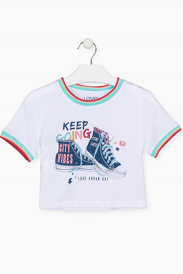 T-shirt court bords côtelés imprimé rayé multicolore Losan