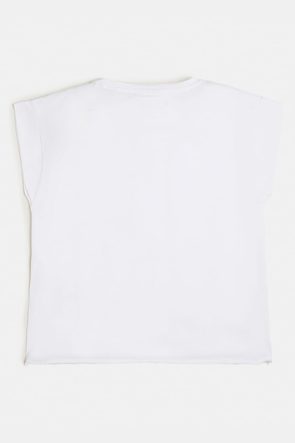 T-shirt uni avec impression devant manches courtes Guess