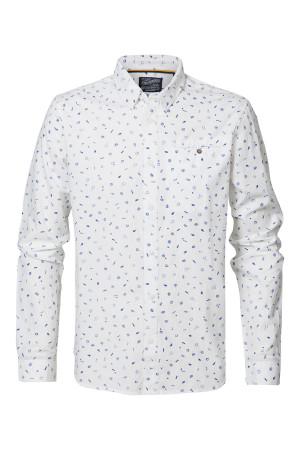 Chemise imprimée en coton avec poche poitrine Petrol