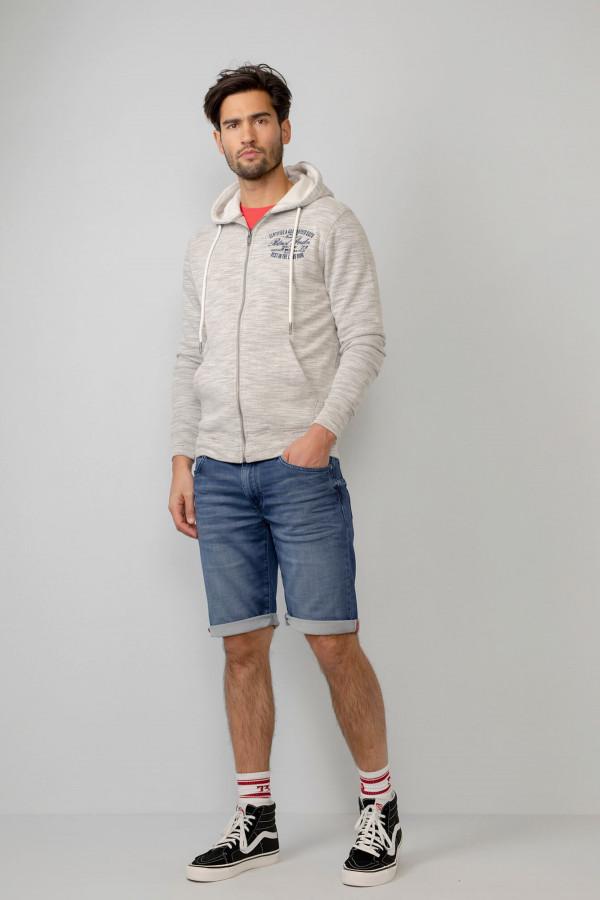 Cardigan chiné à capuche avec poches Petrol