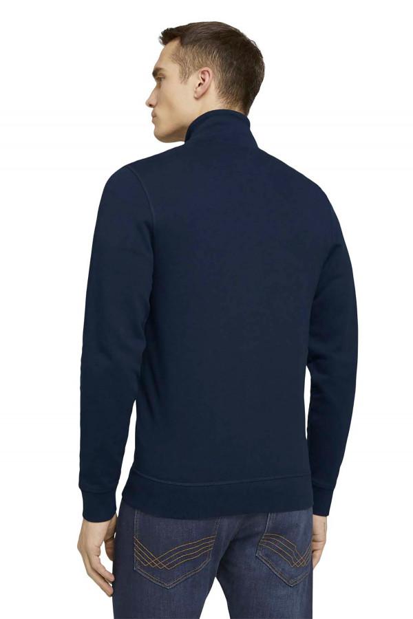 Cardigan zippé en coton impression à la poitrine Tom Tailor