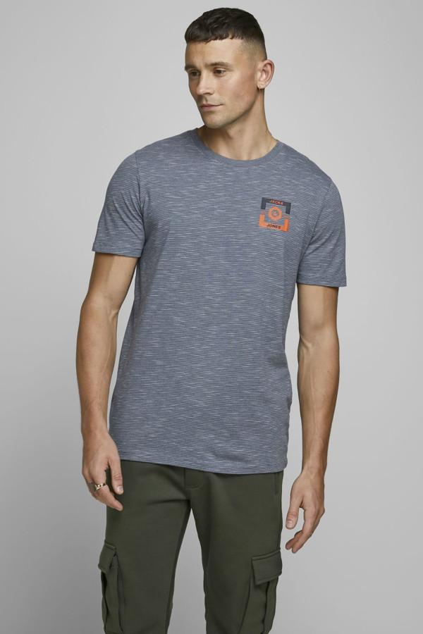 T-shirt uni ou imprimé fines rayures avec logo STRONG Jack & Jones