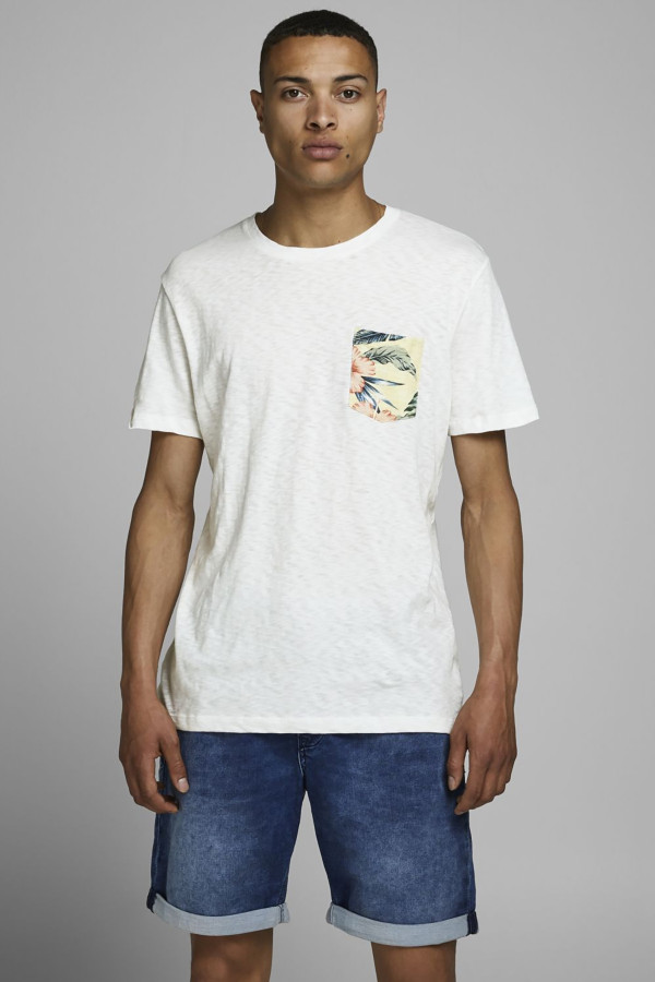 T-shirt uni en coton avec poche poitrine fleurie ELI Jack & Jones