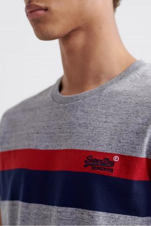 T-shirt uni avec bandes contrastantes en coton Superdry