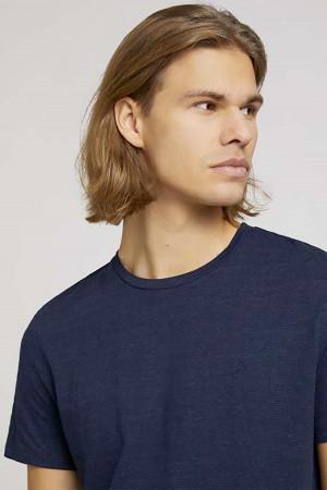 T-shirt uni structuré en coton mélangé Tom Tailor