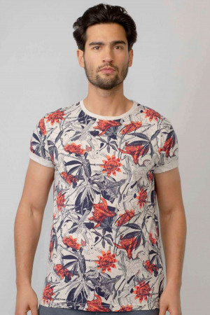 T-shirt imprimé botanique en coton Petrol